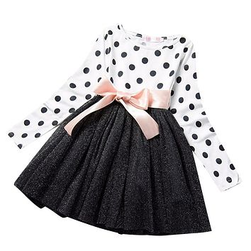 Long Sleeves Girls Casual Dress mini Tutu Party Wear / sizes 3T-8 / 11 color choices