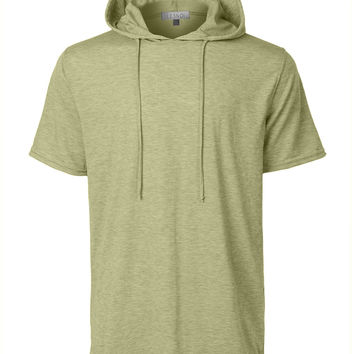 LE3NO Mens Lightweight Hipster Short Sleeve Hoodie Shirt with Adjustable Drawstring (CLEARANCE)