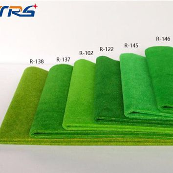 2pcs 50*250cm R138 yellow green color the model grass mat of terrain landscape architectural model material sand turf