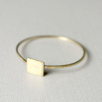 TIny Square Ring -- Stackable -- in Brass by Anilani