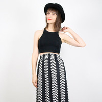 Vintage Black And White Skirt Op Art Checker Board Striped New Wave 1980s Skirt Midi Skirt Knee Skirt High Waisted Taxi Cab Mod M Medium