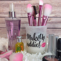Makeup Organizer - Makeup Brush Holder  - Desk Organizer - Pen Holder - Pencil Holder - Cosmetic Organizer - White Glitter / Makeup Addict