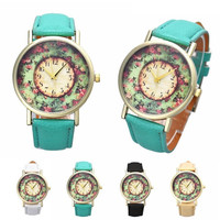 Pastorale Floral Women Leather Band Analog Quartz Dial Wrist Watch = 1956419652