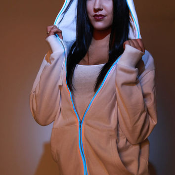 NEW Light-up LED HOODIE Sweatshirt with ultra bright blue lights el wire - white hoodie