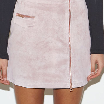 Kendall & Kylie Suede Zip Front Mini Skirt at PacSun.com