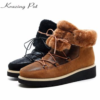 Krazing Pot hot sale cow suede superstar winter shearling keep warm plus size increased snow boots lace up women ankle boots L96