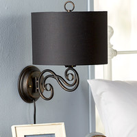 Wall Lamp Sconce Metal Scrolled Fabric Shade Bedroom Living Room Hall Mounted NEW