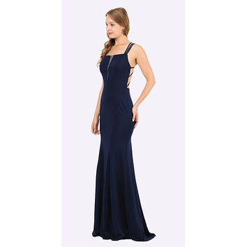Navy Blue Long Prom Dress with Strappy Open-Back
