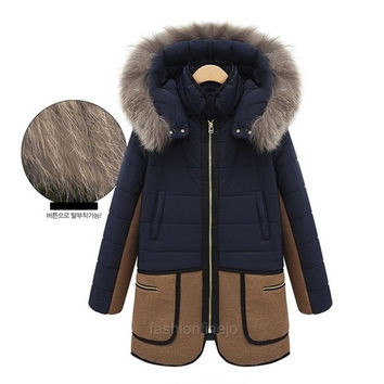 Women Fashion Splice Down Coat Warm Thicken Hooded Fur Collar Jacket Trench  F_F