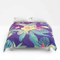 Tropical flowers Comforters by printapix