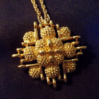 Gold Tone Monet Maltese Cross, Gold Tone Cross Style Necklace, Estate Jewelry, Gold Tone, Chunky Chain, Excellent Condition