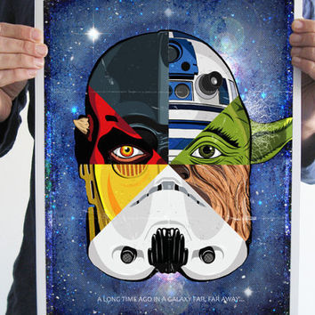 Star wars digital print darth vader yoda R2D2 Stormtrooper C3PO Chewbacca the sith art poster