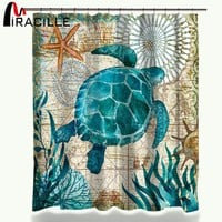 Marine Ocean Animal Waterproof Shower Curtain with 12 Hook Polyester Fabric