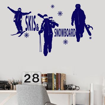 Vinyl Wall Decal Skis Snowboard Winter Sports Snow Extreme Stickers Unique Gift (ig3310)