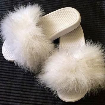Nike Feather Slides Fur Authentic Fashion Girly Shower Shoes Any size (1 - 12 womens)