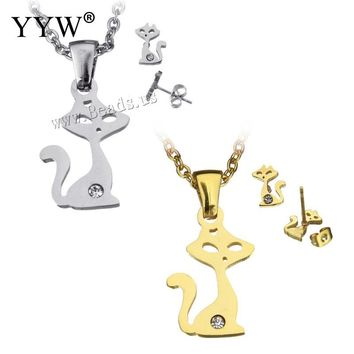 YYW 2018 Women Lovely Cute Cat Animal Pendant Necklace Rhinestone Small Cat Gold-color Choker Chain Pendants Necklace Sets