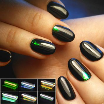 6 Pieces Nail Sticker Broken Glass Water Decals Mirror Effect For Nails Art Fancy Punk Galaxy Transfer Nail Foils
