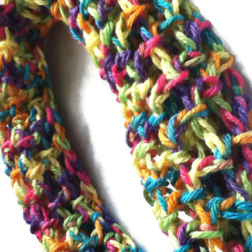 Fun Sprinkle Rainbow Infinity Scarf - Trendy Cowl - Multicolored Lacy - Size Small - Item 3004