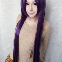 100cm Long Deep Purple Synthetic Anime Cosplay Wig,Colorful Candy Colored synthetic Hair Extension Hair piece 1pcs WIG-018S