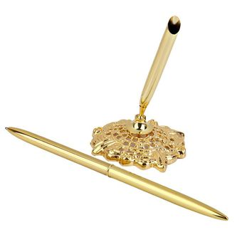 Wedding Party Gold Guest Book Signing Pen Table Decor Wedding Signing Pen Party Supplies With Hollow Round Pen Holder (Golden)