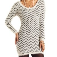 Fuzzy Chevron Sweater Dress by Charlotte Russe