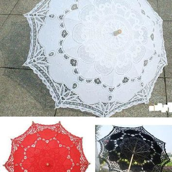 Romantic Era Lace Sun Parasol - 9 Colors