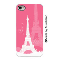 iphone 4 case - Pink Paris, France, Girly, Gifts for her, Feminine, French Culture, White and pink, Eiffel Tower