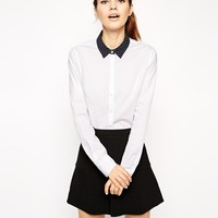 ASOS Fitted Shirt with Spot Collar