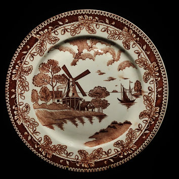 Japanese Brown Willow Hand Painted Porcelain Plate
