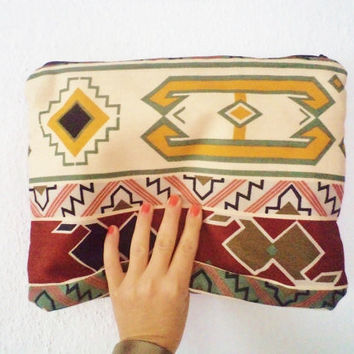 Tribal Kilim Pirint Fold Over Clutch Bag