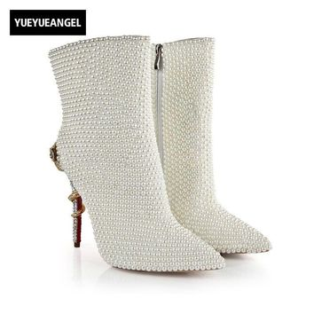 Autumn Fashion Pointed Toe Bead Crystal Decoration White shoes