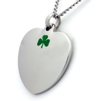 Heart Pendant With Green Clover Stainless Steel Necklace