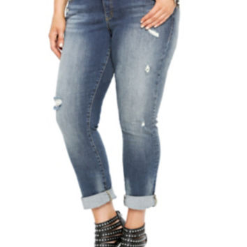 Boyfriend Jean - Medium Wash with Destruction (Regular)