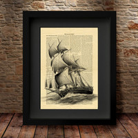 Nautical Art Print, Wall Art Print, Home Decor, Sailing Ship Poster, Pirate Ship Art Print, dictionary art print, Vintage Ship Art Print -12