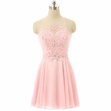 Scoop Beaded Chiffon Short Cocktail Dresses Formal Dress to Party
