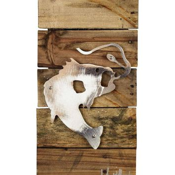 Bass Fishing Reclaimed Wood & Metal Art Wall Decor