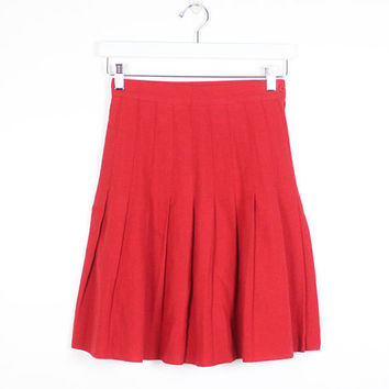 Vintage 1980s Skirt Red Wool Blend Preppy Pleated Skirt High Waisted Skirt 80s Mini Skirt Heathers Skater Skirt Uniform Kilt XS S Small