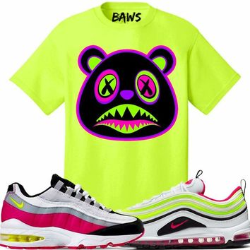 Nike Air Max White Rush Pink Volt - 80s BAWS Safety Green Sneaker Tees Shirt