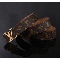 LV Louis Vuitton Men's and Women's Fashion Trendy Buckle Belt Belt F