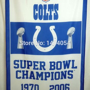 Indianapolis Colts  Super Bowl Champions Flag 150X90CM Banner 100D Polyester3x5 FT flag brass grommets 001, free shipping