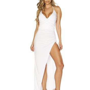 Maxi Length Dress with Overlapping Scrunch