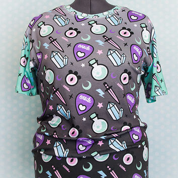 Pastel Oracle Witch Tools All Over Print Graphic T Shirt Fairy Kei Pastel Goth Kawaii