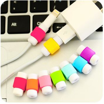 10pcs/lot Cute Cable earphones Protector For iPhone Sansung HTC USB Colorful Data Charger Earphone Cable Cover protetor de cabo
