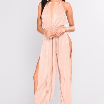 In Your Element Lurex Jumpsuit - Nude