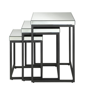 Office Star Krystal 3-piece Square Mirror Nesting Tables with Metal Legs Fully Assembled [KRY193-A]