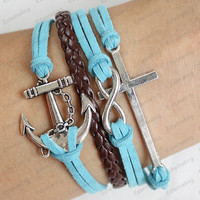 personalized  Bracelets -cross&anchor  leather bracelets blue rope Cross Love Infinity White Friendship Bracelet anniversary gifts N033