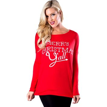Long Sleeve Oversized Merry Christmas Y'all Top, Red (Size S)