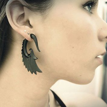 Fake Gauges Nava Wings Horn Earrings by TribalStyle on Etsy