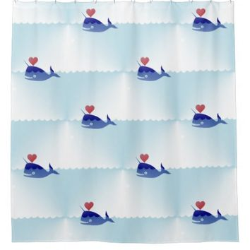 kawaii narwhal bathroom shower curtain