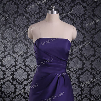 New arriival A-line Strapless Sleeveless Above the knee/Mini Short Satin Bridesmaid Dress Prom Dress 2013 with Pleated